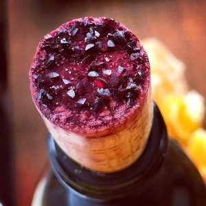 Wine crystals on a cork